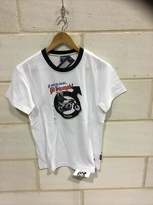 Triumph Motorcycle Ladies White ' Leader'  T Shirt NEW Size L • 19.99£