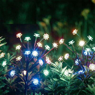 2x Solar LED 4 Color Changing Lotus Garden Fairy Stake Lights Outdoor Decoration • 10.99£