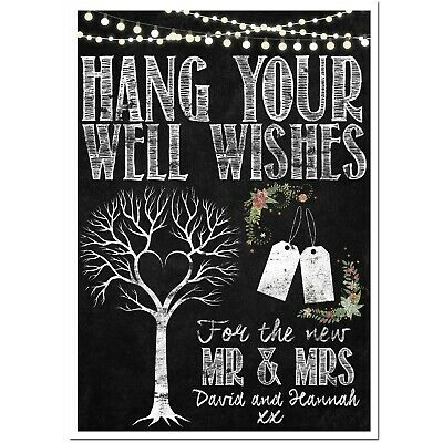 £4.99 • Buy Chalkboard Wedding Wishing Tree Sign Guest Poster DIGITAL DOWNLOAD ONLY