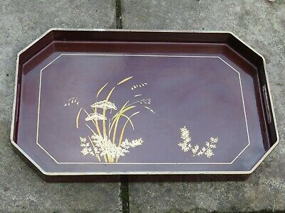 Vintage Japanese Red/ Brown Lacquered Wooden Serving Tray Flower Butterfly... • 15£