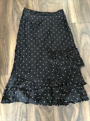 H&M Black White Polka Dot Ruffle Long Midi High Waist Flounced Calf Skirt 12-14 • 1.99£