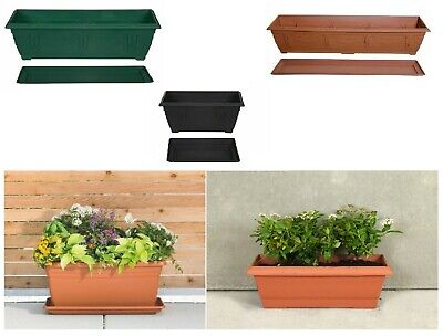 £6.45 • Buy Plastic Planter Plant Flower Pot Broad Base With Saucer Garden Plate Tray Water