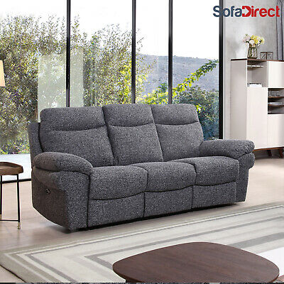 Electric Recliner Fabric Sofas Grey Brown Beige 3+2+1 3 Piece Suite Living Room • 449.99£