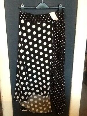 Black And White  Polka Dot Spot Maxi  Skirt Size 8 • 10£