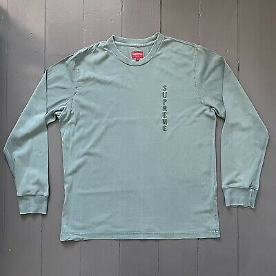$ CDN15 • Buy Supreme Embroidered Logo Long Sleeve T-Shirt - Green Overdyed - Large - L