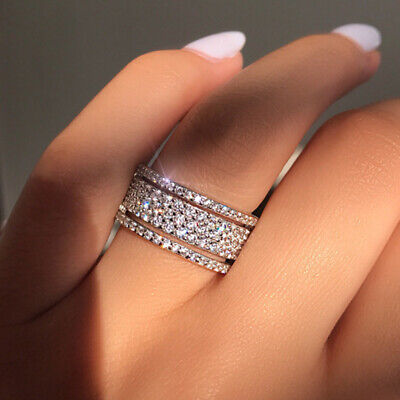 Women Lady Silver Full Crystal Band Rings Wedding Engagement Ring Jewelry • 5.89£