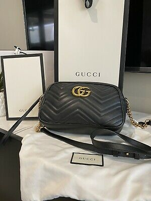 AU1290 • Buy Authentic Gucci GG Marmont Shoulder Bag Small, Matelasse Leather With Packaging