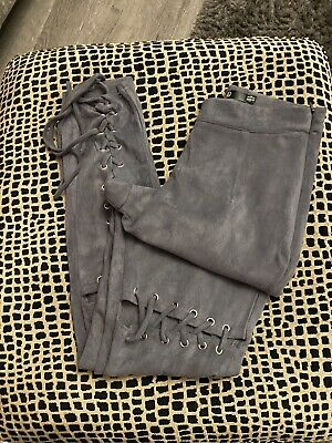Missguided Grey Torn Suede Effect Skinny Lace Up Leggings Size 8 • 1£