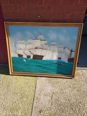 John Coward 1972 Oil Painting On Canvas Old Ships On The Sea • 99£