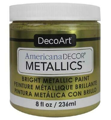 8 OZ DECOART Americana Decor BRIGHT Metallic Paint, 24K Gold ADMTL04 8 OZ • 15.33£