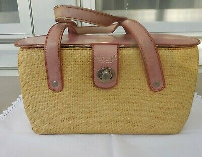 $ CDN37.81 • Buy Vtg Kate Spade Classic Woven Wicker Purse Pink Leather Polka Dot Interior Preppy
