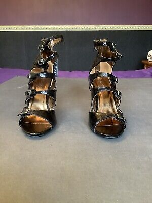 Ella Faux Patent Leather Black Gladiater Heeled Sandals Buckles/Zip Size 5 BNWOB • 2£
