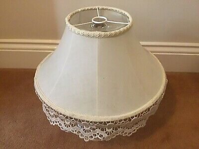 Vintage Cream Colour Lampshade With Lace Edge. 14 In Across Base. • 12£