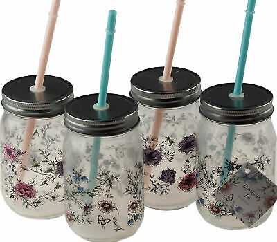 4 Pretty Floral Drinking Mason Glass Jars With Lid And Reusable Straw • 12.99£