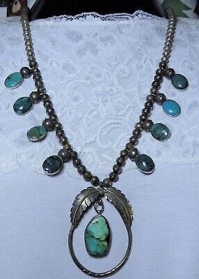 $ CDN193.48 • Buy 1970+ NAVAJO Natural TURQUOISE STERLING Silver 24.5  SQUASH BLOSSOM Necklace 🍂