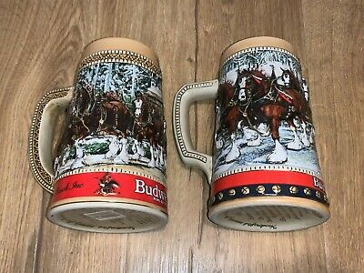$ CDN31.51 • Buy 2 Budweiser Holiday Beer Steins: 1987  C  Series And 1988 Collectors Series