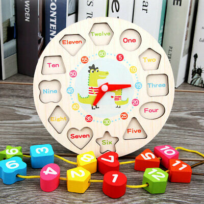 £5.86 • Buy Children Kids Wooden Clock Shape Toys Early Learning Number Educational Puzzle