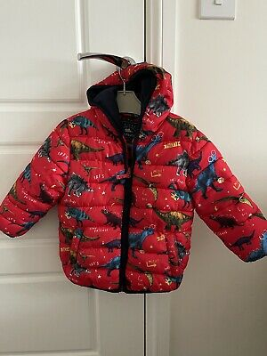 Baby Boys Red Dinosaur  Coat 18-24 Months George. Very Good Condition • 3£