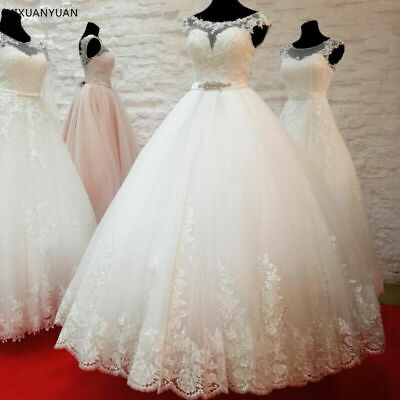 $ CDN12.65 • Buy Princess Applique Lace Scoop Puffy Ball Gown Bridal Gown Belt Wedding Dresses