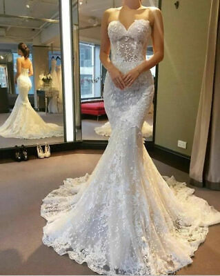 $ CDN37.97 • Buy White/Ivory Lace Appliques Mermaid Wedding Dresses Corset Bridal Ball Gowns 2-26