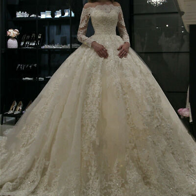 $ CDN25.31 • Buy Princess Ball Gown Lace Bride Wedding Dresses Long Sleeve A Line Bridal Gown