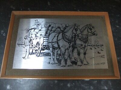 Vintage Omicways Stainless Steel Picture, Shire Horses Hay Bailing, A Jacobs • 3.99£