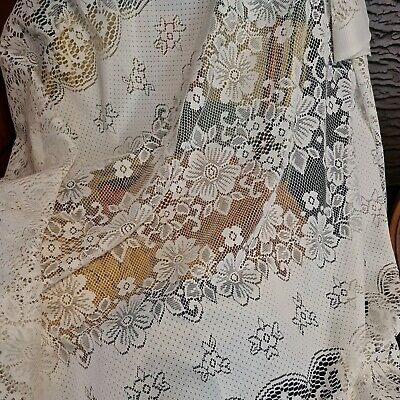Vintage Ivory Cream Net  Lace Tablecloth. Floral And Open Patterning.70 X53 • 5£
