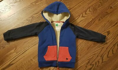 £24.78 • Buy Very Good Used Mini Boden Boy Girl Reversible Shaggy Hoodie 4-5 Blue Red Jacket
