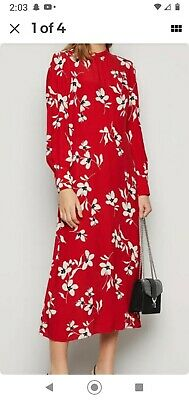 Ladies New Look Red Floral Midi Dress Size 12 • 15£