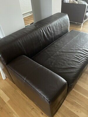 IKEA Sofa/Chaise Brown Leather • 40£