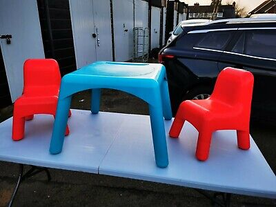 Kids Table And Chair Set Red Chaurs Blue Table Vgc • 15£