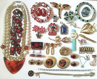 $ CDN25.23 • Buy Vintage To Now Costume Jewelry Lot Some Signed Wear Resell Craft Harvest