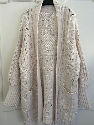 $ CDN123.24 • Buy ANTHROPOLOGIE Katherine Chunky Off White Cable-Knit Cardigan Size M UK 12 14