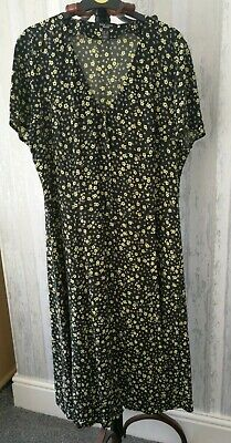 NEW LOOK PETITE Floral Print Button Front Midi Dress Size 16 • 5.80£