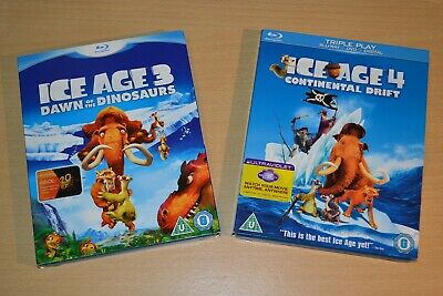 Ice Age 4 Blu-ray & DVD And Ice Age 3 Blu-ray, With Slip Cases • 2.49£