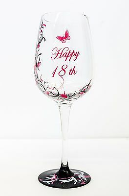 Hand Painted Wine Glass 18th Birthday Gift | Pink For Girl | Personalised • 12.17£