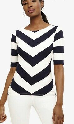 💕BNWT £45 PHASE EIGHT Chelsea Navy Ivory Striped Top Size 10 Soft Stretch Lined • 10.75£