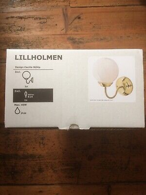Ikea Lillholmen Wall Lamp By Cecilia Stoop, Brass With White Glass Shade BNIB • 4.75£