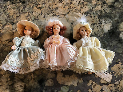 $ CDN12.62 • Buy Schylling Porcelain Victorian Dolls 3 Feather Lace Red Hair Vintage