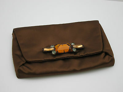 LANVIN *Mai Tai* Embellished Brown Satin Evening Clutch Bag BNWT + Dustbag • 115£