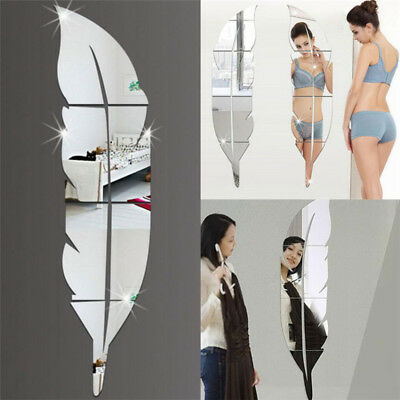 Removable Home Feather Mirror Wall Stickers Decal Art Vinyl Room DIY Decor-L# + • 4.11£