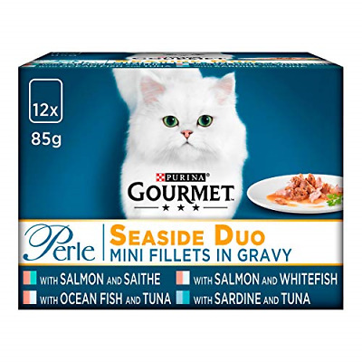 Gourmet Perle Cat Food Pouches Seaside Duo 12x85g Pack Of 4 • 21.28£