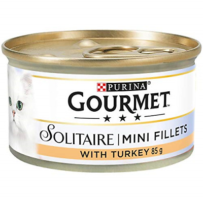 Gourmet Solitaire Tinned Cat Food With Turkey 85g Pack Of 12 • 12.44£