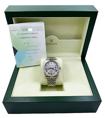$ CDN8220.72 • Buy Rolex Datejust 16200 Silver Roman Dial Stainless Steel Box Papers 2005