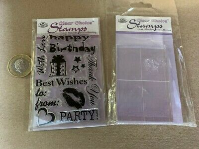 Happy Birthday Clear Stamps - Mini - With Acrylic Stamp Block - Party With Love • 0.10£