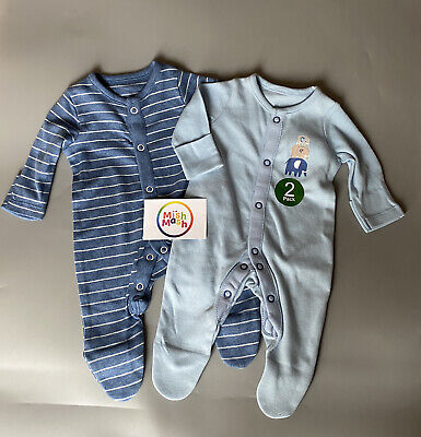 £7.95 • Buy NEW 2 Pack Baby Boys Ex Mothercare Elephant Blue Sleepsuits Rompers Babygrows