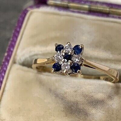 AU695.43 • Buy Vintage 18ct Gold Sapphire And Diamond Ring, Engagement Cluster Date 1983 UK M