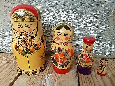 Vintage 4x RUSSIAN NESTING DOLL FAMILY Wooden Traditional Hand Painted USSR • 4.99£