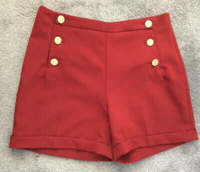 🌺H&M Ladies Shorts Tailored Wine Red Gold Buttons Size 10 EUR38🌺 • 1.79£