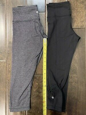 $ CDN31.72 • Buy Lululemon Wunder Under Crop Leggings Pants Heathered Grey Black LOT TWO Size 4